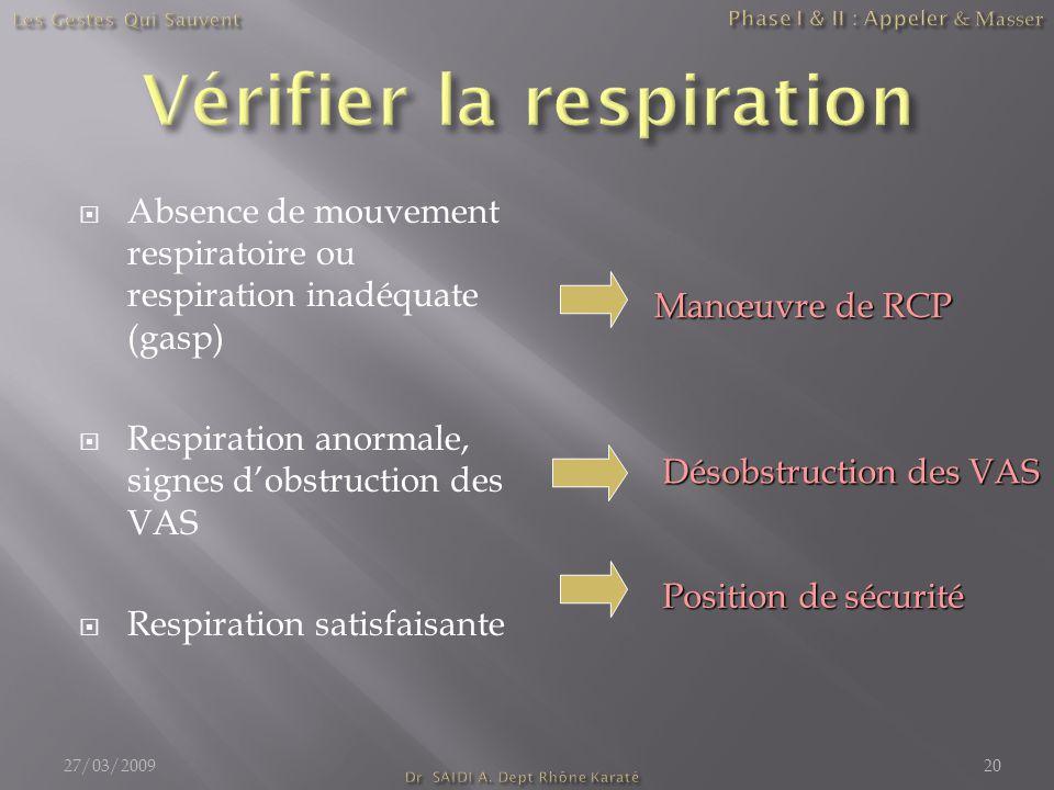  Absence de mouvement respiratoire ou respiration inadéquate (gasp)  Respiration anormale, signes d'obstruction des VAS  Respiration satisfaisante