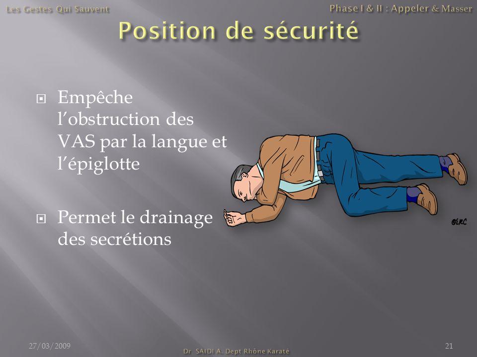  Empêche l'obstruction des VAS par la langue et l'épiglotte  Permet le drainage des secrétions 27/03/200921