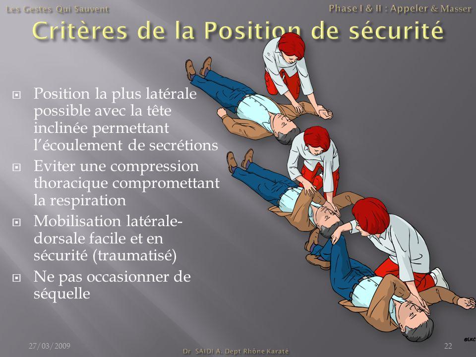  Position la plus latérale possible avec la tête inclinée permettant l'écoulement de secrétions  Eviter une compression thoracique compromettant la