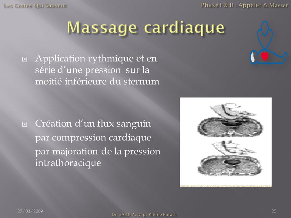  Application rythmique et en série d'une pression sur la moitié inférieure du sternum  Création d'un flux sanguin par compression cardiaque par majo