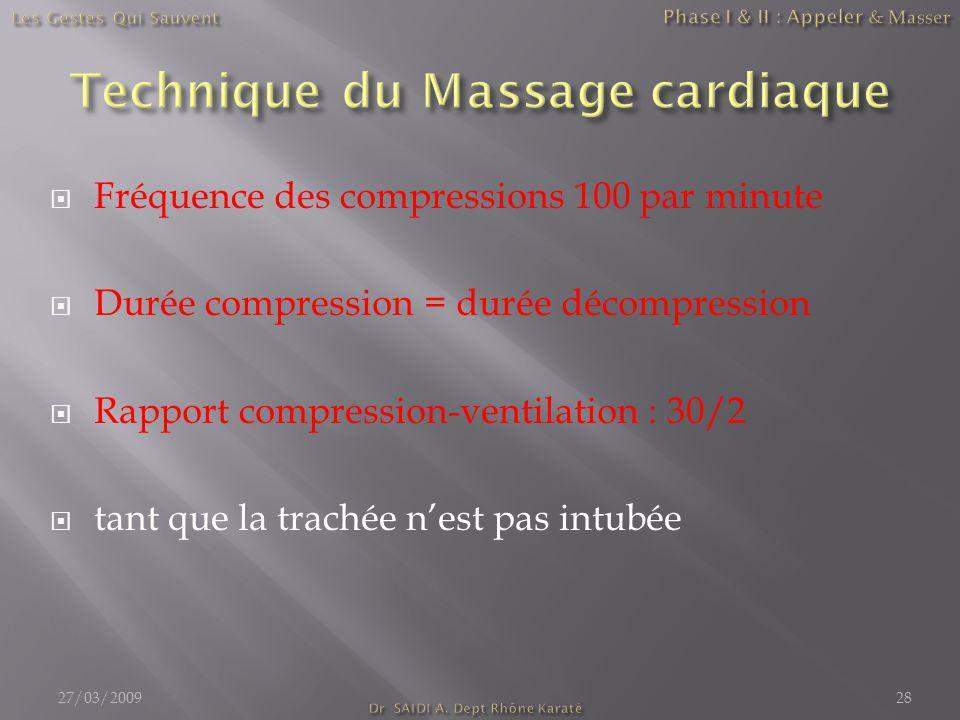  Fréquence des compressions 100 par minute  Durée compression = durée décompression  Rapport compression-ventilation : 30/2  tant que la trachée n