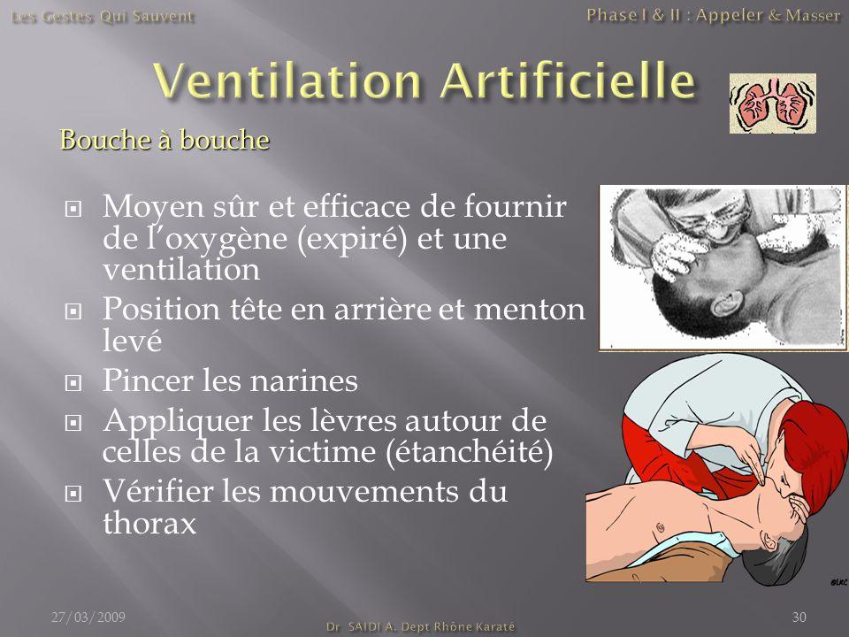  Moyen sûr et efficace de fournir de l'oxygène (expiré) et une ventilation  Position tête en arrière et menton levé  Pincer les narines  Appliquer
