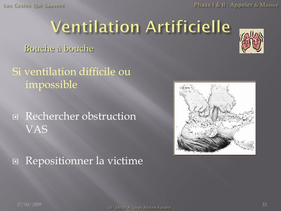 Si ventilation difficile ou impossible  Rechercher obstruction VAS  Repositionner la victime Bouche à bouche 27/03/200932