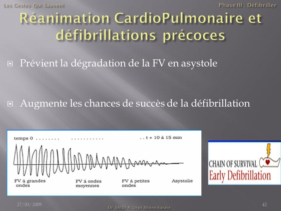  Prévient la dégradation de la FV en asystole  Augmente les chances de succès de la défibrillation 27/03/200942