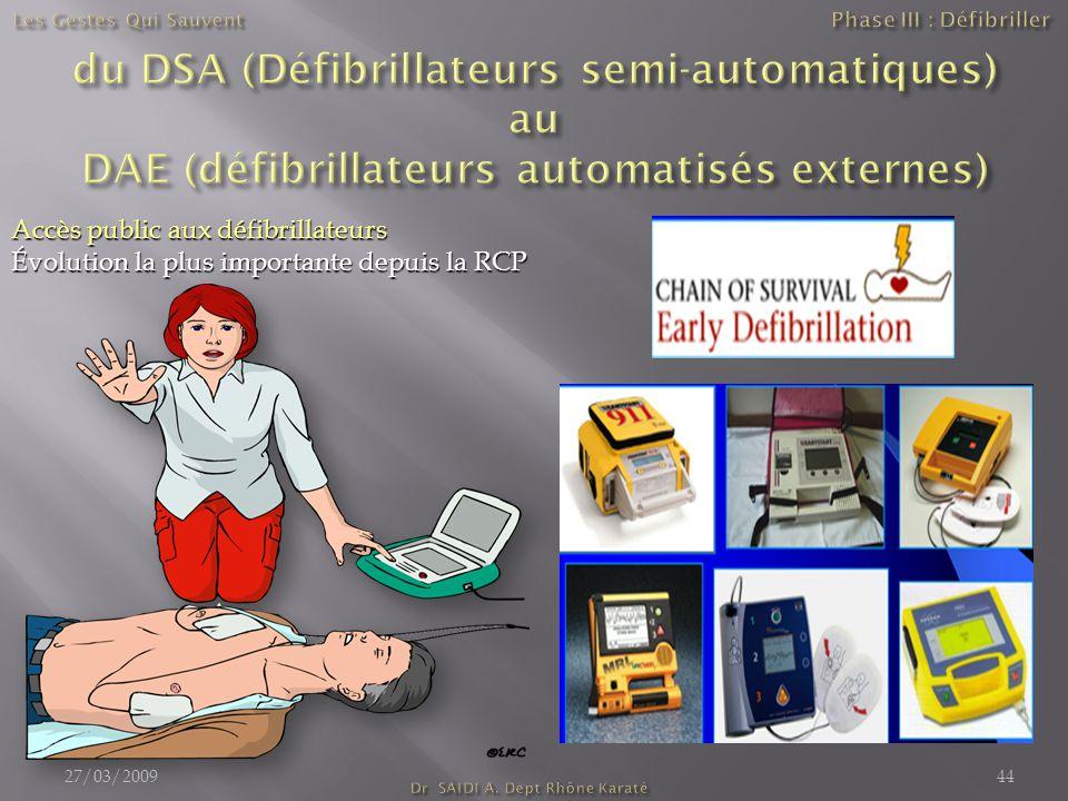 Accès public aux défibrillateurs Évolution la plus importante depuis la RCP 27/03/200944