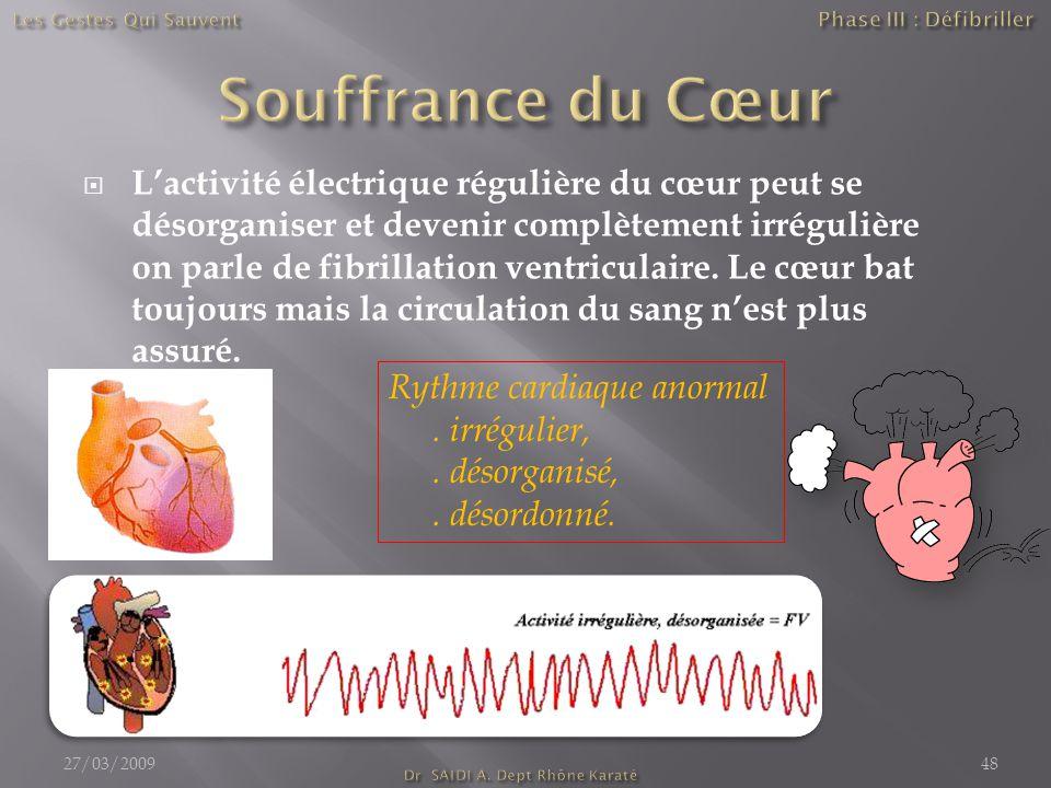  L'activité électrique régulière du cœur peut se désorganiser et devenir complètement irrégulière on parle de fibrillation ventriculaire. Le cœur bat