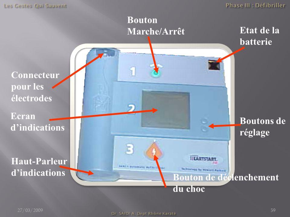 Connecteur pour les électrodes Etat de la batterie Ecran d'indications Haut-Parleur d'indications Bouton Marche/Arrêt Boutons de réglage Bouton de déclenchement du choc 27/03/200959