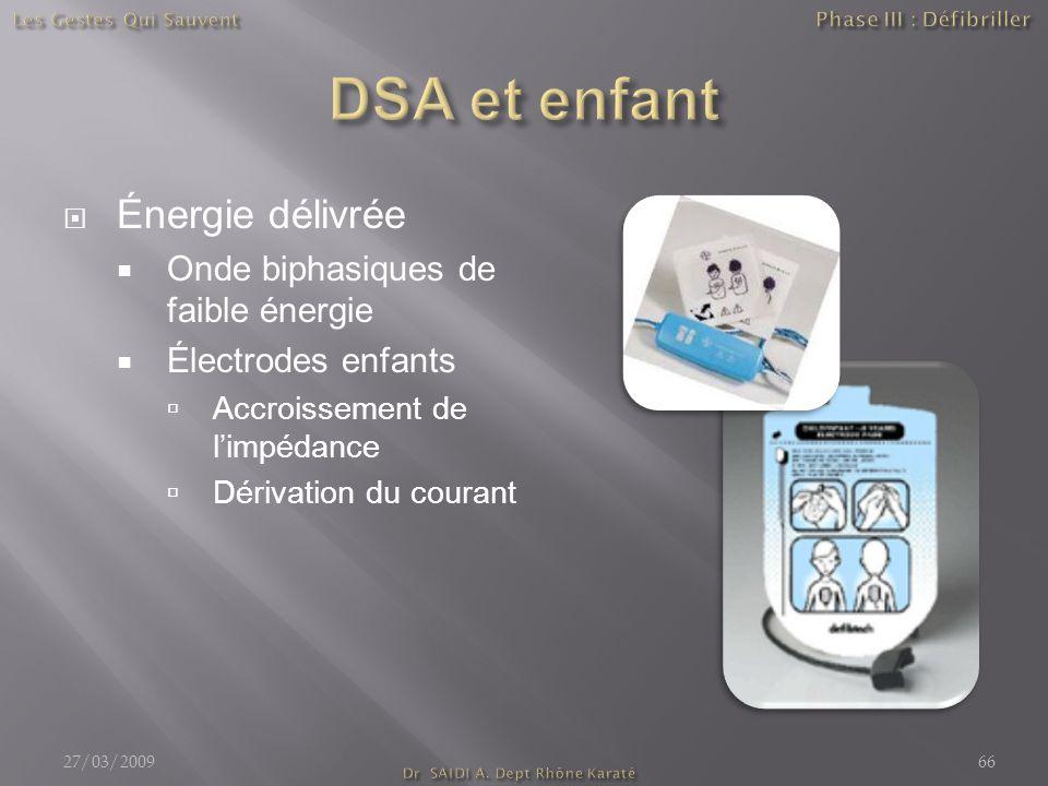  Énergie délivrée  Onde biphasiques de faible énergie  Électrodes enfants  Accroissement de l'impédance  Dérivation du courant 27/03/200966