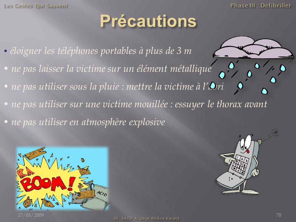 éloigner les téléphones portables à plus de 3 m ne pas laisser la victime sur un élément métallique ne pas utiliser sous la pluie : mettre la victime