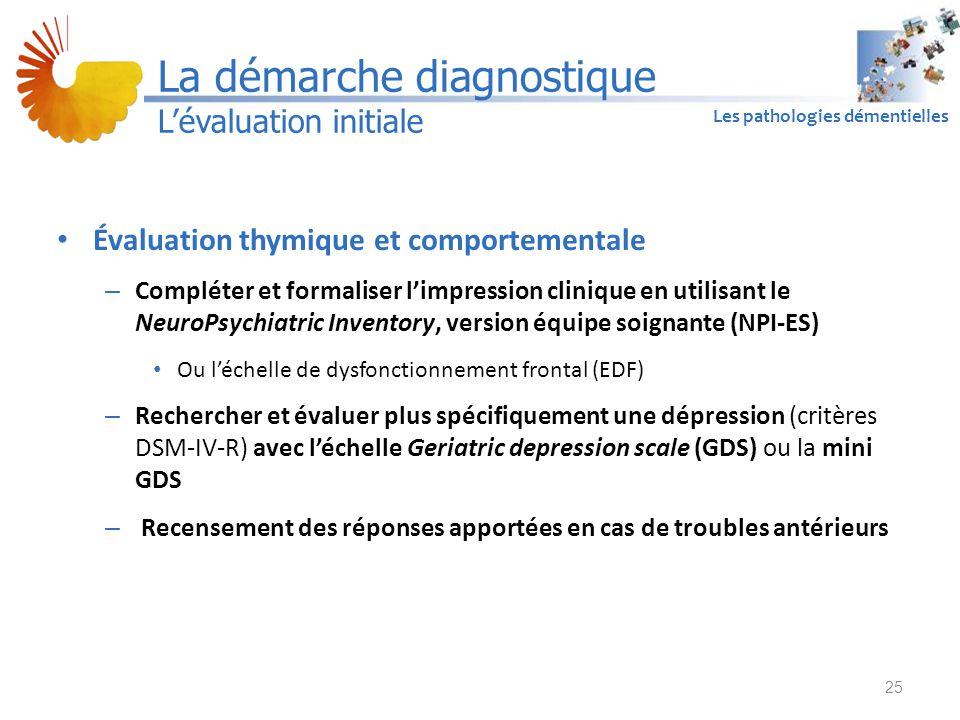 A1 Les pathologies démentielles Évaluation thymique et comportementale – Compléter et formaliser l'impression clinique en utilisant le NeuroPsychiatri