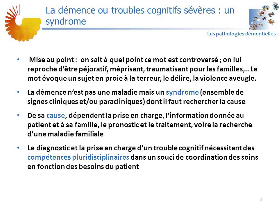 A1 Les pathologies démentielles En cas de changement comportemental récent, il est recommandé d'en rechercher la cause et en priorité : – Une comorbidité : un fécalome, une infection (notamment urinaire ou dentaire), une rétention urinaire, un trouble métabolique, une mycose (surtout buccale), une décompensation d'une pathologie chronique, une comorbidité neurologique (AVC, hématome sous-dural, crise comitiale non convulsivante, etc.) – Une cause iatrogène – Une douleur – Un syndrome dépressif – Une modification ou une inadaptation de l'environnement (changement d'équipe, de mode de prise en soins, survenue d'événements familiaux) 54 La prise en charge thérapeutique spécifique de la MA Modification comportementale récente