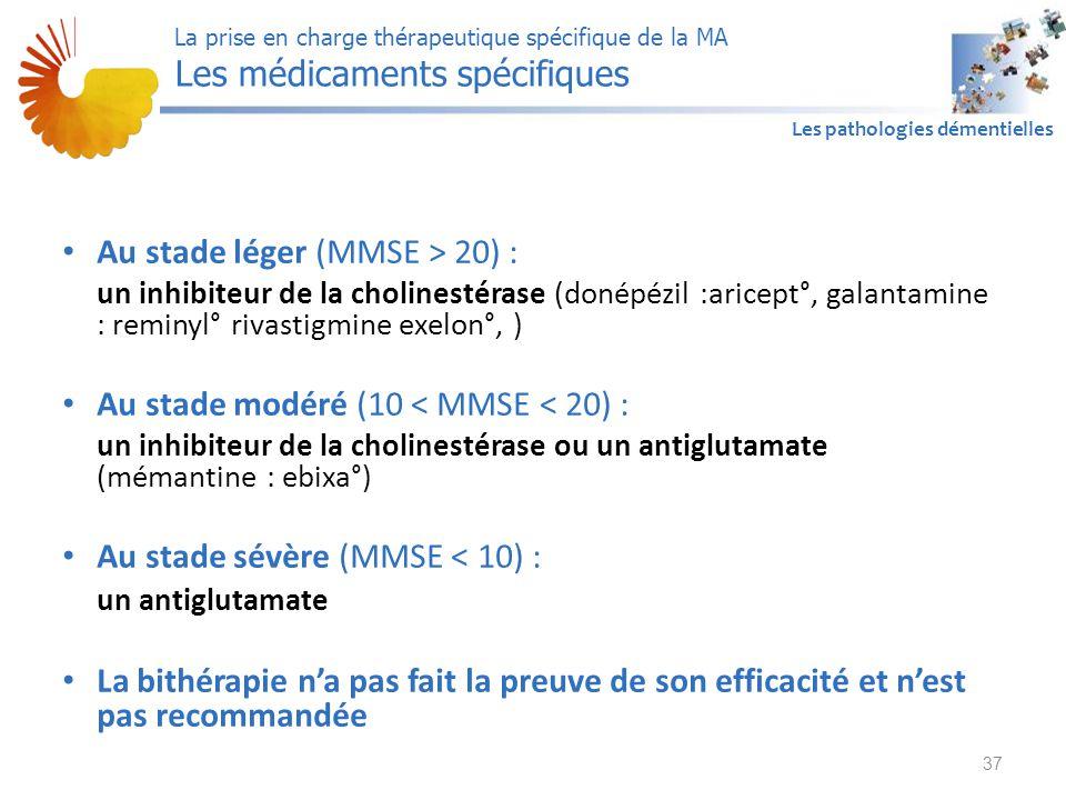 A1 Les pathologies démentielles Au stade léger (MMSE > 20) : un inhibiteur de la cholinestérase (donépézil :aricept°, galantamine : reminyl° rivastigm
