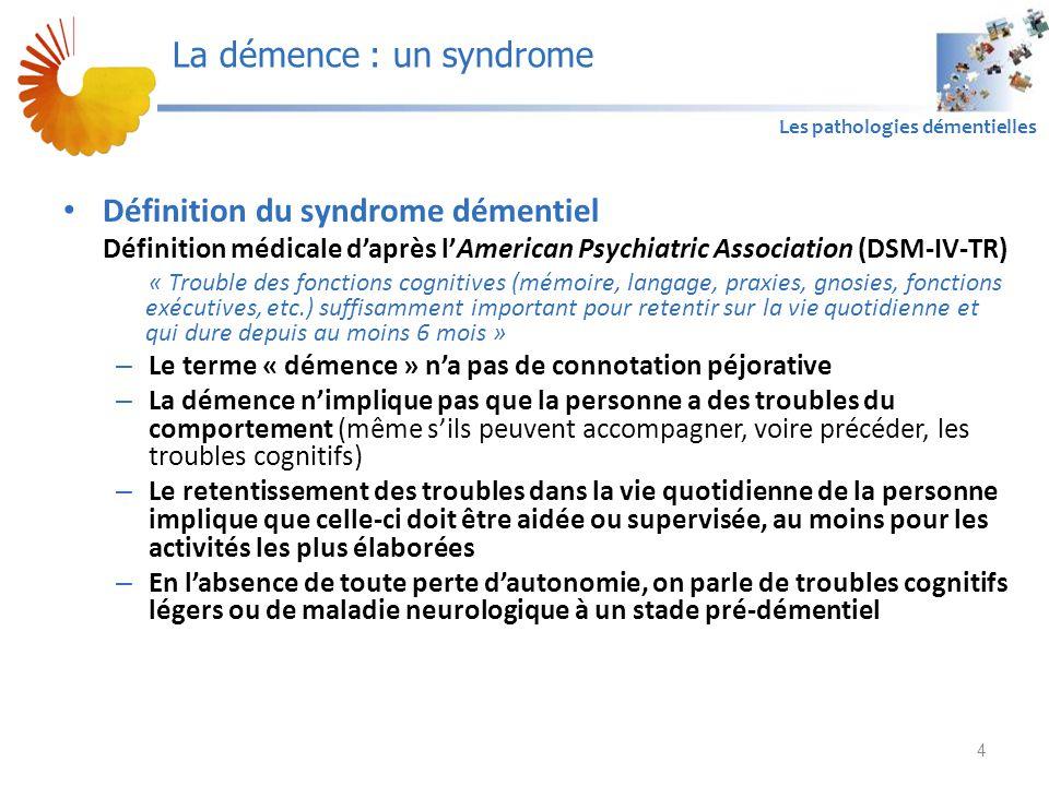 A1 Les pathologies démentielles Définition du syndrome démentiel Définition médicale d'après l'American Psychiatric Association (DSM-IV-TR) « Trouble