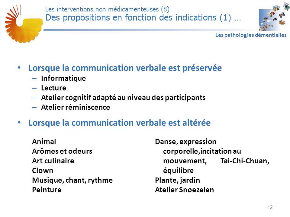 A1 Les pathologies démentielles Lorsque la communication verbale est préservée – Informatique – Lecture – Atelier cognitif adapté au niveau des partic