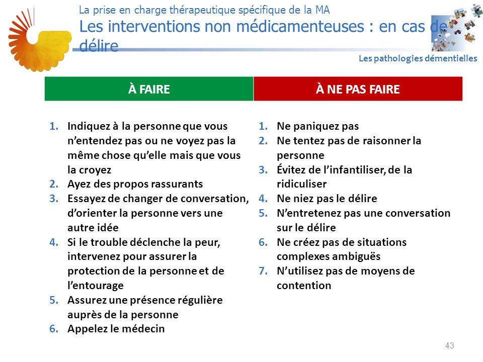 A1 Les pathologies démentielles 43 La prise en charge thérapeutique spécifique de la MA Les interventions non médicamenteuses : en cas de délire À FAI
