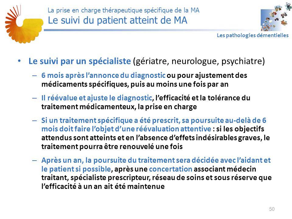 A1 Les pathologies démentielles Le suivi par un spécialiste (gériatre, neurologue, psychiatre) – 6 mois après l'annonce du diagnostic ou pour ajusteme