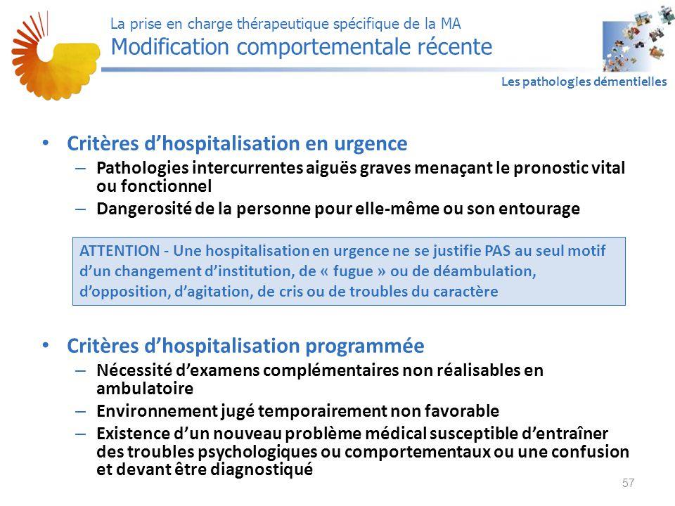 A1 Les pathologies démentielles Critères d'hospitalisation en urgence – Pathologies intercurrentes aiguës graves menaçant le pronostic vital ou foncti