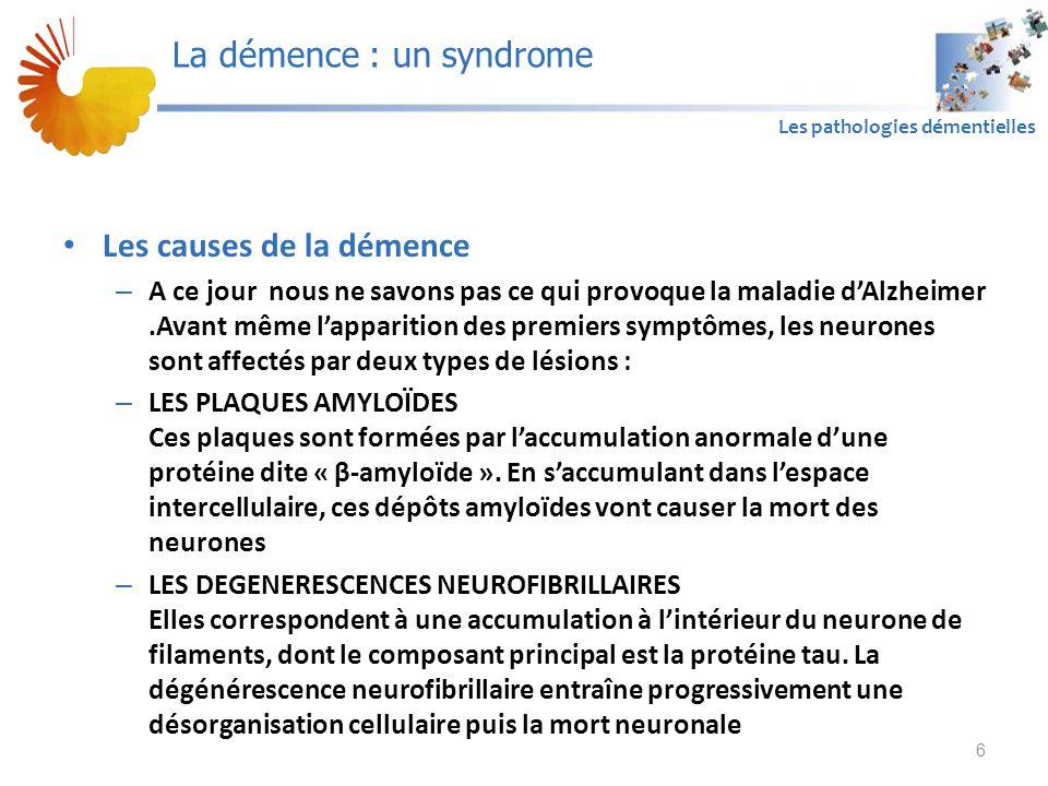 A1 Les pathologies démentielles Les causes de la démence – A ce jour nous ne savons pas ce qui provoque la maladie d'Alzheimer.Avant même l'apparition des premiers symptômes, les neurones sont affectés par deux types de lésions : – LES PLAQUES AMYLOÏDES Ces plaques sont formées par l'accumulation anormale d'une protéine dite « β-amyloïde ».