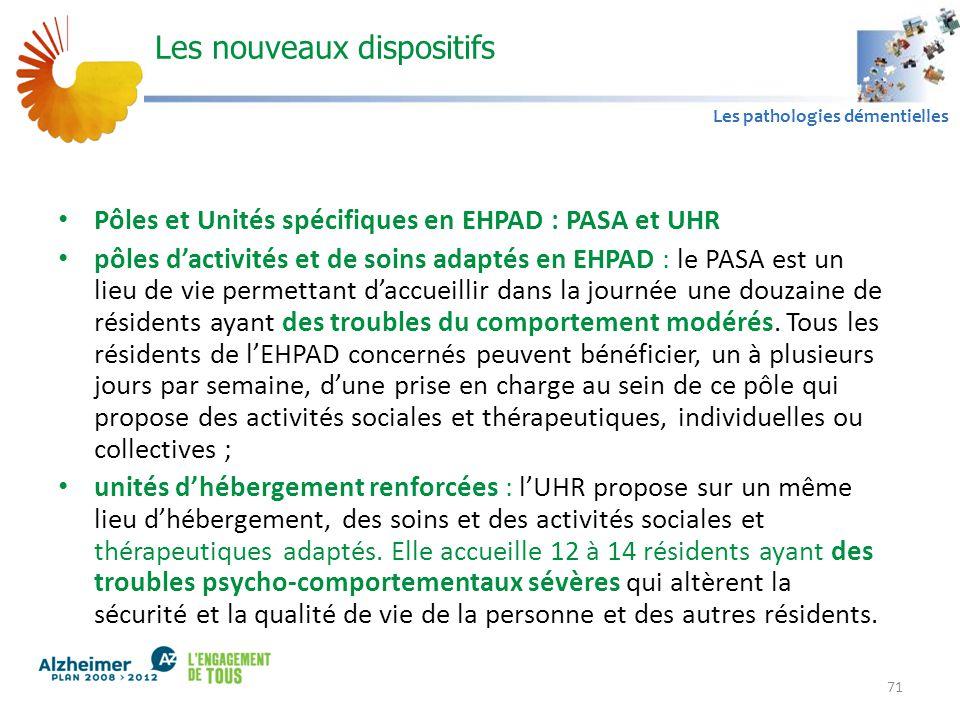 A1 Les pathologies démentielles Les nouveaux dispositifs Pôles et Unités spécifiques en EHPAD : PASA et UHR pôles d'activités et de soins adaptés en E