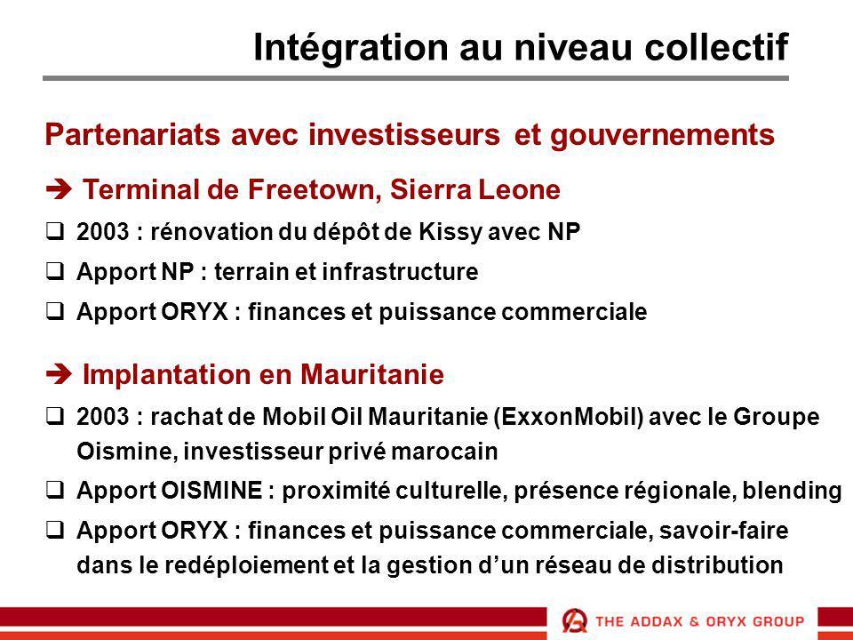 Intégration au niveau collectif Partenariats avec investisseurs et gouvernements  Terminal de Freetown, Sierra Leone  2003 : rénovation du dépôt de
