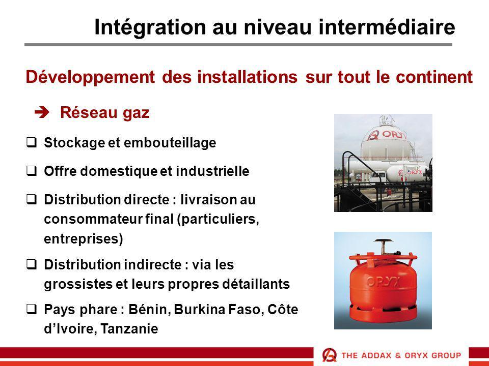 Intégration au niveau intermédiaire Développement des installations sur tout le continent  Réseau gaz  Stockage et embouteillage  Offre domestique