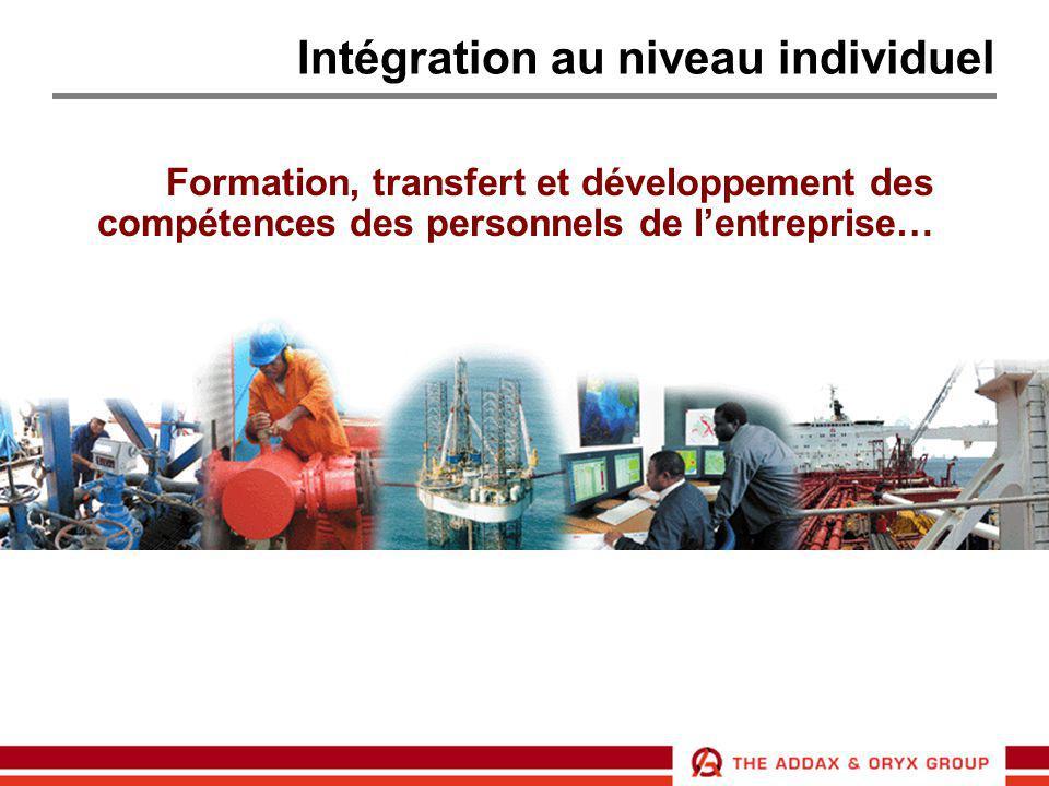 Intégration au niveau individuel Formation, transfert et développement des compétences des personnels de l'entreprise…