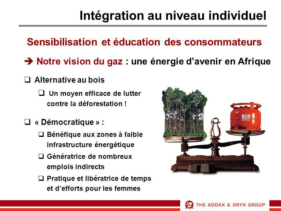 Intégration au niveau individuel Sensibilisation et éducation des consommateurs  Notre vision du gaz : une énergie d'avenir en Afrique  Alternative