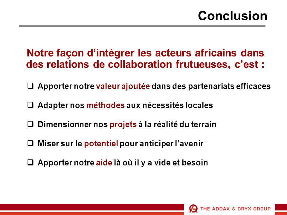 Conclusion Notre façon d'intégrer les acteurs africains dans des relations de collaboration frutueuses, c'est :  Apporter notre valeur ajoutée dans d