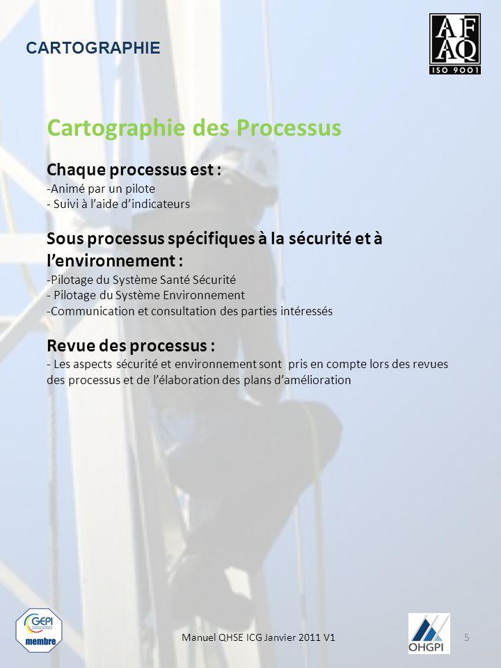 Manuel QHSE ICG Janvier 2011 V1 CARTOGRAPHIE Cartographie des Processus Chaque processus est : -Animé par un pilote - Suivi à l'aide d'indicateurs Sous processus spécifiques à la sécurité et à l'environnement : -Pilotage du Système Santé Sécurité - Pilotage du Système Environnement -Communication et consultation des parties intéressés Revue des processus : - Les aspects sécurité et environnement sont pris en compte lors des revues des processus et de l'élaboration des plans d'amélioration 5