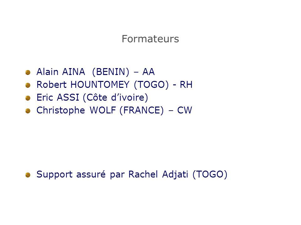 Formateurs Alain AINA (BENIN) – AA Robert HOUNTOMEY (TOGO) - RH Eric ASSI (Côte d'ivoire) Christophe WOLF (FRANCE) – CW Support assuré par Rachel Adja
