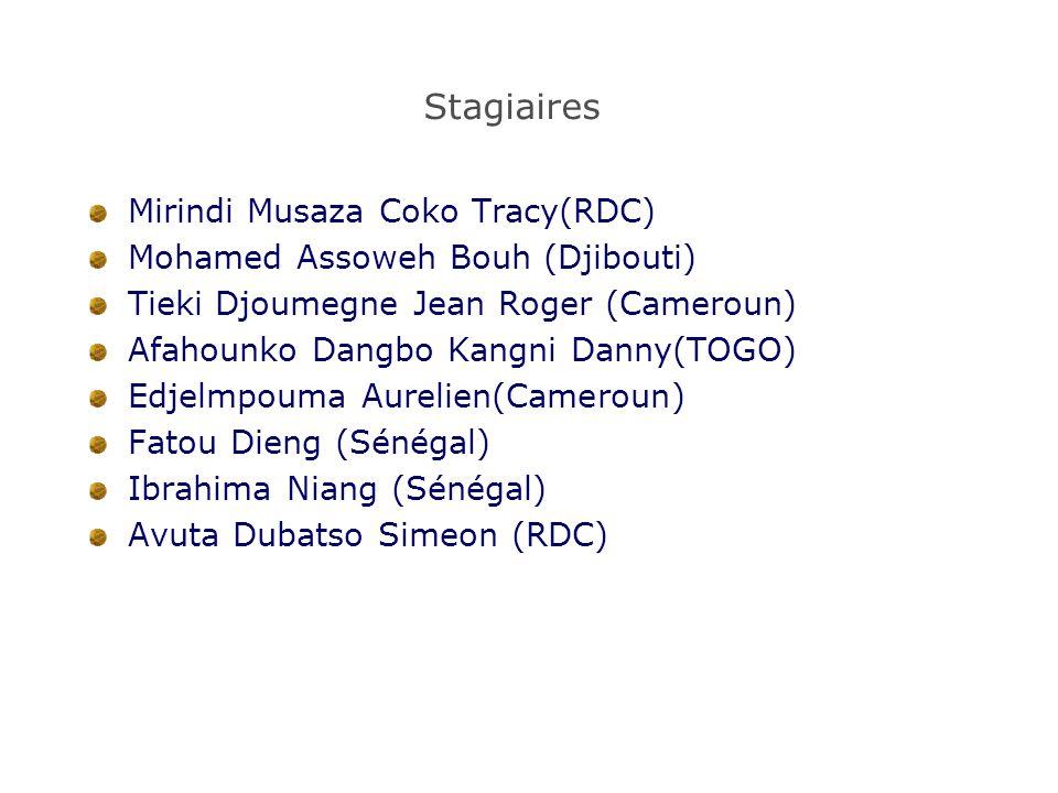 Stagiaires Mirindi Musaza Coko Tracy(RDC) Mohamed Assoweh Bouh (Djibouti) Tieki Djoumegne Jean Roger (Cameroun) Afahounko Dangbo Kangni Danny(TOGO) Edjelmpouma Aurelien(Cameroun) Fatou Dieng (Sénégal) Ibrahima Niang (Sénégal) Avuta Dubatso Simeon (RDC)