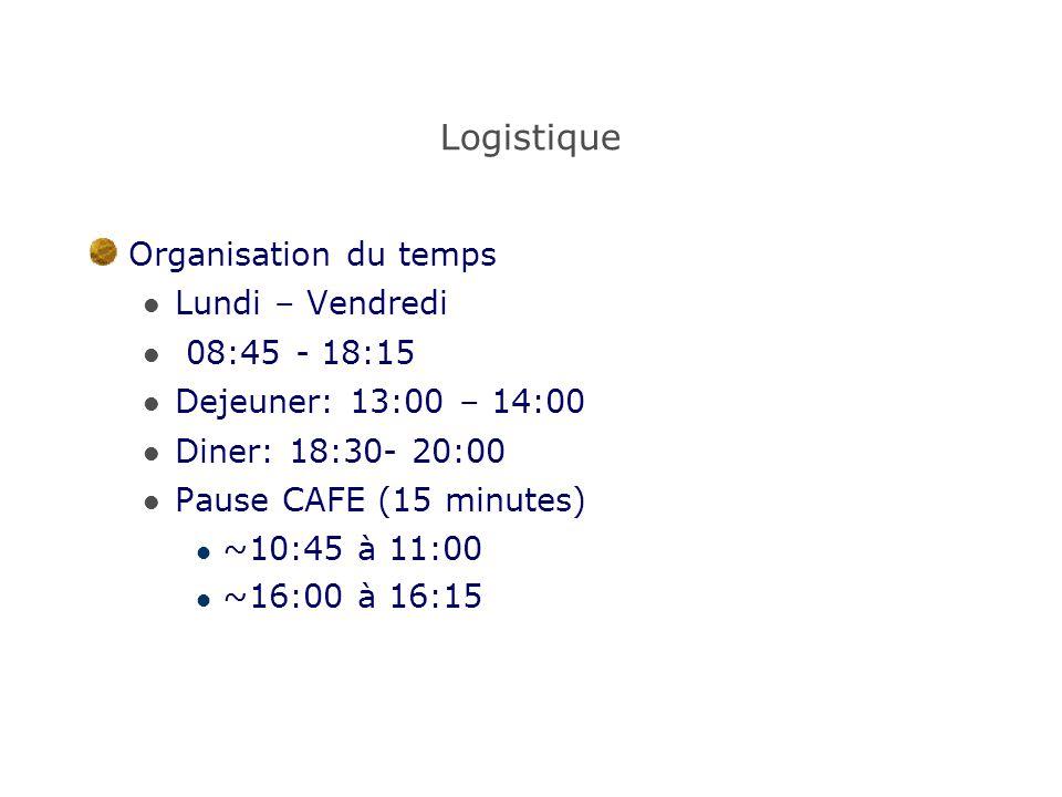 Logistique Organisation du temps Lundi – Vendredi 08:45 - 18:15 Dejeuner: 13:00 – 14:00 Diner: 18:30- 20:00 Pause CAFE (15 minutes) ~10:45 à 11:00 ~16
