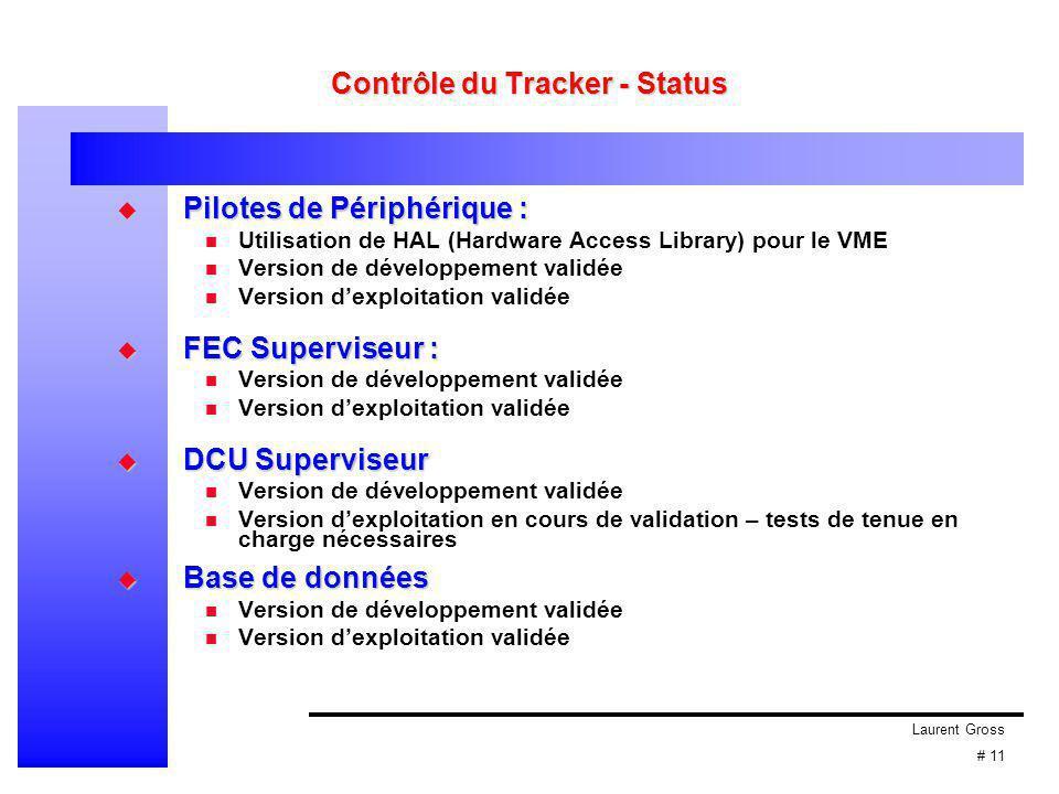 Laurent Gross # 11 Contrôle du Tracker - Status  Pilotes de Périphérique : Utilisation de HAL (Hardware Access Library) pour le VME Version de dévelo