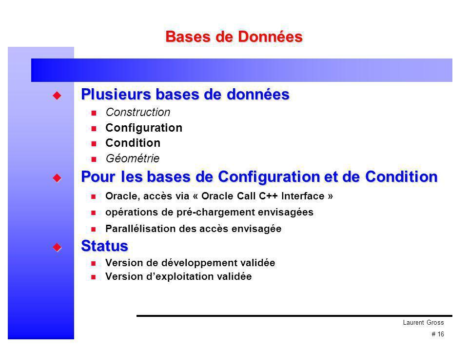 Laurent Gross # 16 Bases de Données  Plusieurs bases de données Construction Configuration Condition Géométrie  Pour les bases de Configuration et d