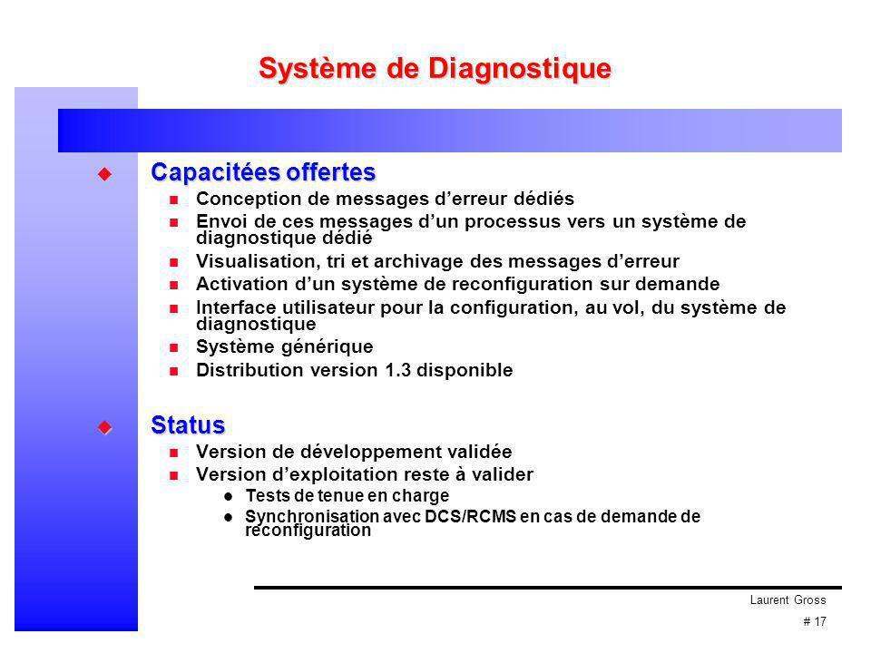 Laurent Gross # 17 Système de Diagnostique  Capacitées offertes Conception de messages d'erreur dédiés Envoi de ces messages d'un processus vers un s