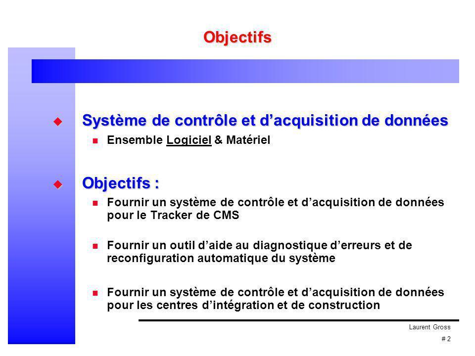 Laurent Gross # 2 Objectifs  Système de contrôle et d'acquisition de données Ensemble Logiciel & Matériel  Objectifs : Fournir un système de contrôl