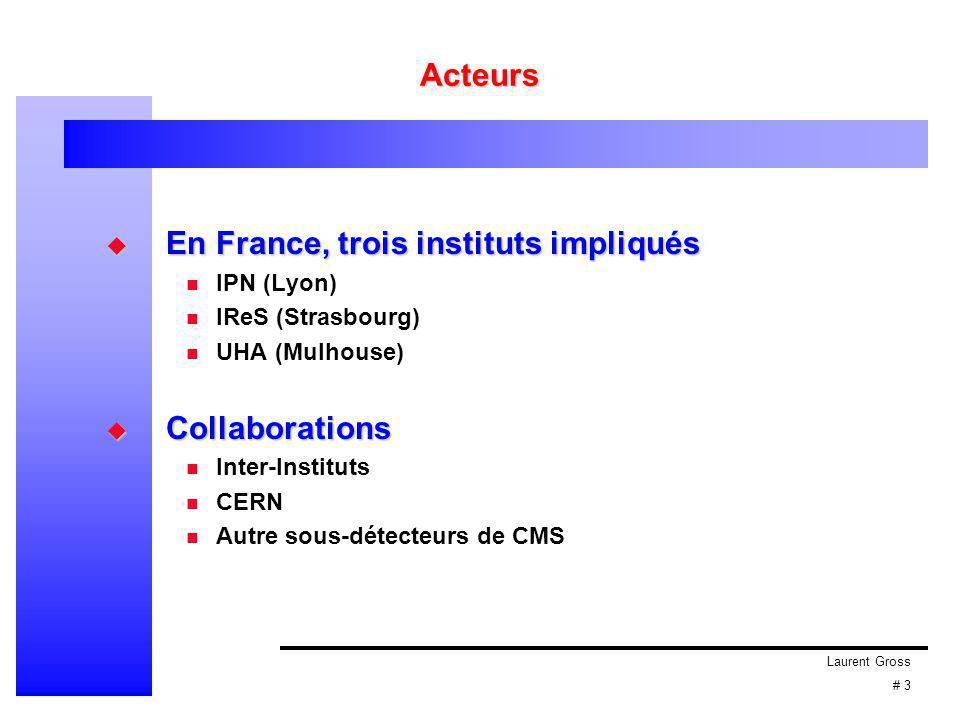 Laurent Gross # 3 Acteurs  En France, trois instituts impliqués IPN (Lyon) IReS (Strasbourg) UHA (Mulhouse)  Collaborations Inter-Instituts CERN Autre sous-détecteurs de CMS