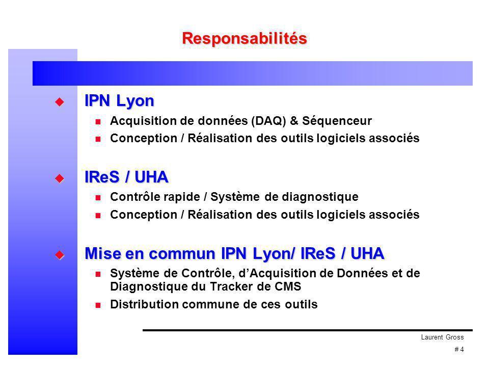 Laurent Gross # 4 Responsabilités  IPN Lyon Acquisition de données (DAQ) & Séquenceur Conception / Réalisation des outils logiciels associés  IReS /