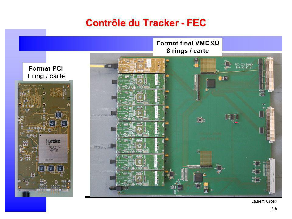 Laurent Gross # 7 Contrôle du Tracker - CCU 16 canaux I2C (gestion des Hybrides) 4 canaux d'E/S 8 bits (gestion des reset) 1 canal Mémoire 1 canal Trigger 1 canal JTAG