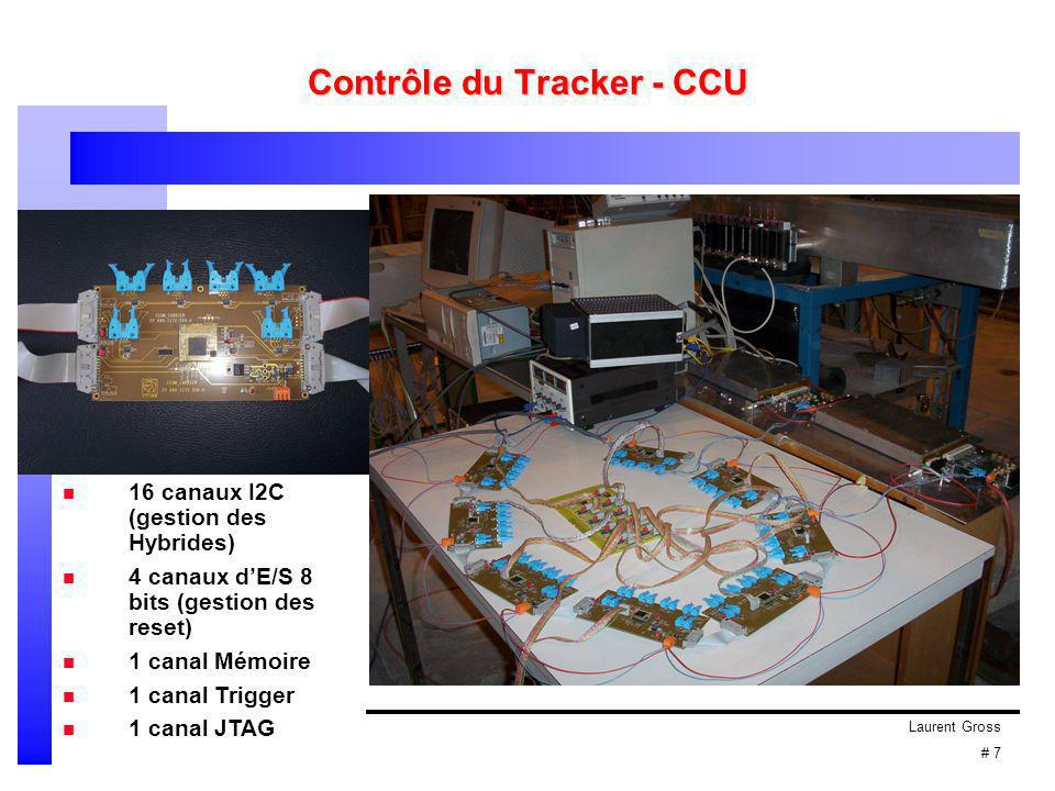 Laurent Gross # 8 Contrôle du Tracker - Hybride PLL MUX DCU APV APV : électronique de lecture PLL : puce de programmation du retard et d'alignement de l'horloge MUX : multiplexage de 2 APV DCU : monitoring des T°, tensions et courants Laserdriver analogique : envoi des données au Front-End Driver (FED) Laserdriver digital : anneau pour la partie contrôle Front-End Controller (FEC) Bus d'accès commun : i 2 c Puces électroniques configurables dynamiquement