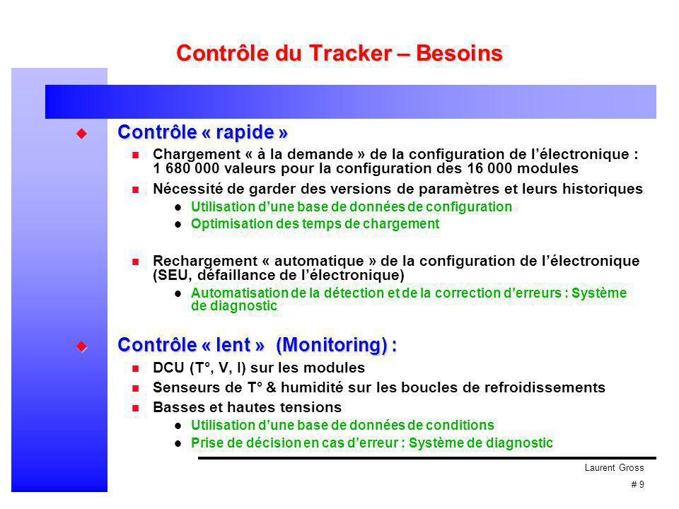 Laurent Gross # 9 Contrôle du Tracker – Besoins  Contrôle « rapide » Chargement « à la demande » de la configuration de l'électronique : 1 680 000 valeurs pour la configuration des 16 000 modules Nécessité de garder des versions de paramètres et leurs historiques Utilisation d'une base de données de configuration Optimisation des temps de chargement Rechargement « automatique » de la configuration de l'électronique (SEU, défaillance de l'électronique) Automatisation de la détection et de la correction d'erreurs : Système de diagnostic  Contrôle « lent » (Monitoring) : DCU (T°, V, I) sur les modules Senseurs de T° & humidité sur les boucles de refroidissements Basses et hautes tensions Utilisation d'une base de données de conditions Prise de décision en cas d'erreur : Système de diagnostic