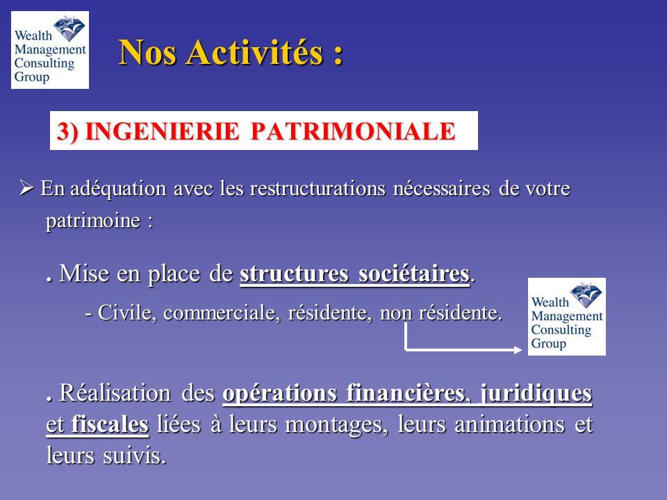 3) INGENIERIE PATRIMONIALE  En adéquation avec les restructurations nécessaires de votre patrimoine : patrimoine :.