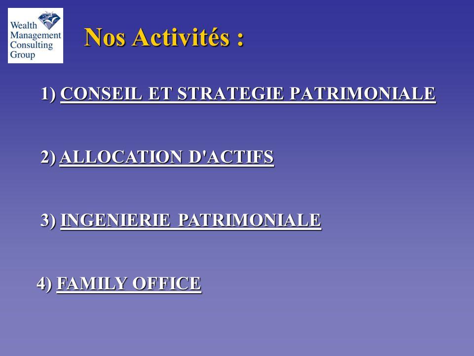Nos Activités : 1) CONSEIL ET STRATEGIE PATRIMONIALE 2) ALLOCATION D ACTIFS 3) INGENIERIE PATRIMONIALE 4) FAMILY OFFICE