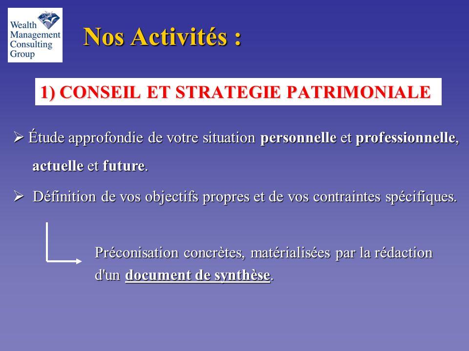 1) CONSEIL ET STRATEGIE PATRIMONIALE Nos Activités :  Étude approfondie de votre situation personnelle et professionnelle, actuelle et future.