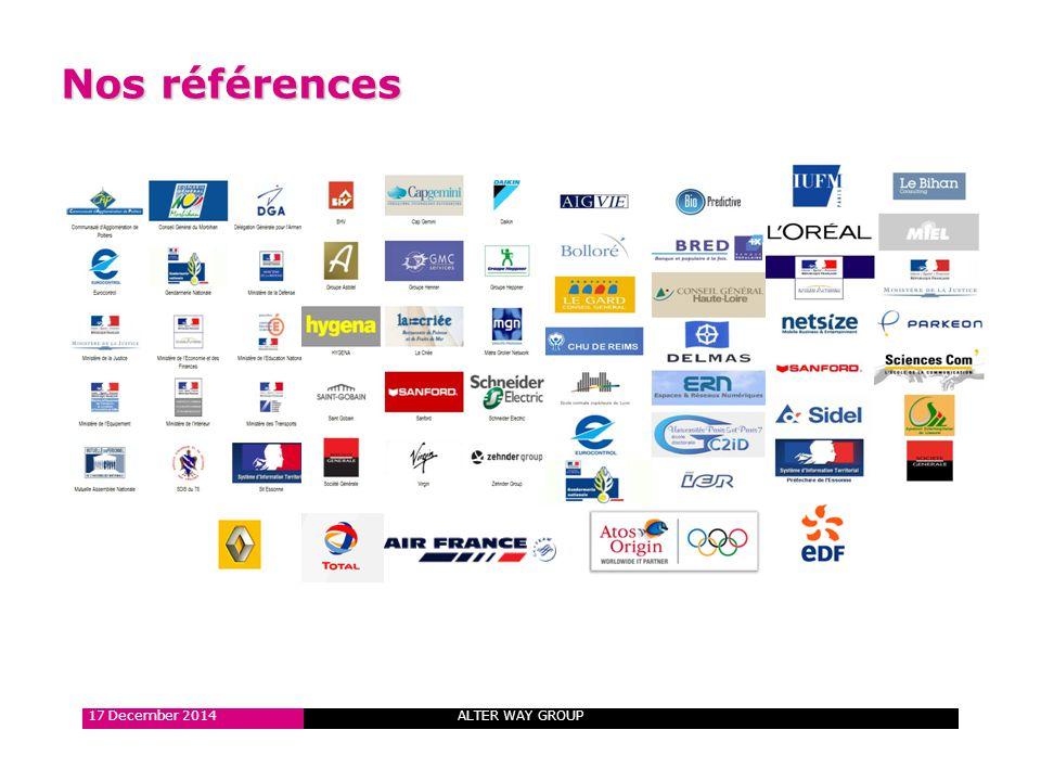 ALTER WAY GROUP 200 Clients actifs, grandes et moyennes entreprises 21 17 December 2014 ALTER WAY GROUP Nos références