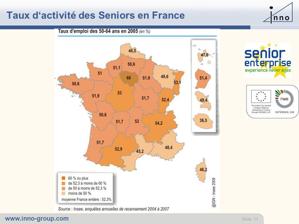 www.inno-group.com Slide 11 Taux d'activité des Seniors en France