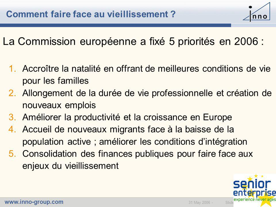 www.inno-group.com Slide 631 May 2006 - Comment faire face au vieillissement .