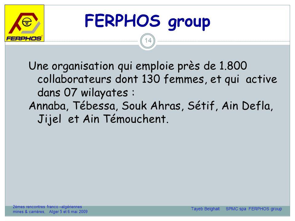FERPHOS group 14 Une organisation qui emploie près de 1.800 collaborateurs dont 130 femmes, et qui active dans 07 wilayates : Annaba, Tébessa, Souk Ahras, Sétif, Ain Defla, Jijel et Ain Témouchent.