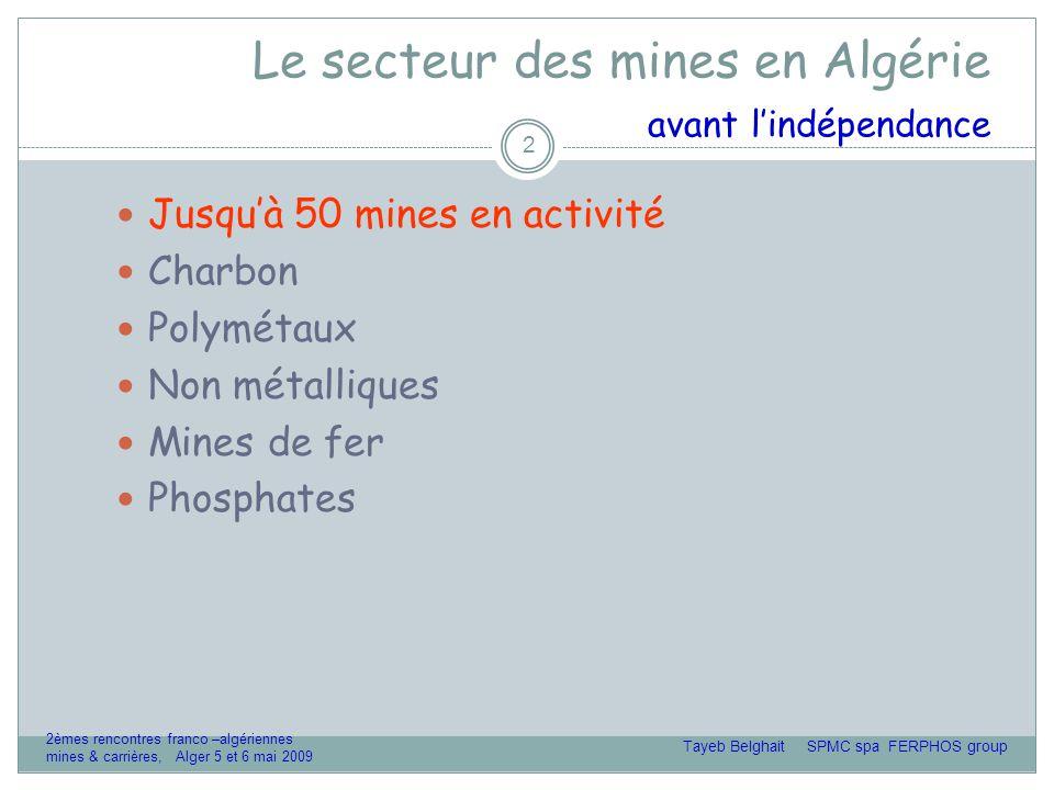 Le secteur des mines en Algérie aujourd'hui 13 o Développement en cours Phosphates Mines de fer Or Polymétaux Diamant Substances non métalliques Sel Marbre Tayeb Belghait SPMC spa FERPHOS group 2èmes rencontres franco –algériennes mines & carrières, Alger 5 et 6 mai 2009
