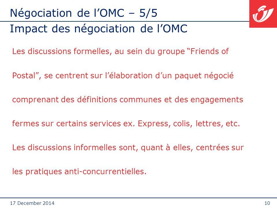 """17 December 201410 Négociation de l'OMC – 5/5 Impact des négociation de l'OMC Les discussions formelles, au sein du groupe """"Friends of Postal"""", se cen"""